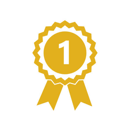 champion award medal gold isolated on white vector illustration