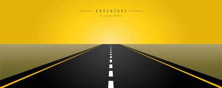 asphalt road yellow sunrise vector illustration EPS10 Banco de Imagens - 152088311