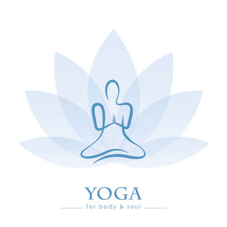 drawing yoga person sitting in a lotus pose meditation vector illustration