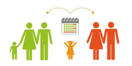 colorful patchwork family time management pictogram vector illustartion EPS10 Banco de Imagens - 152151025