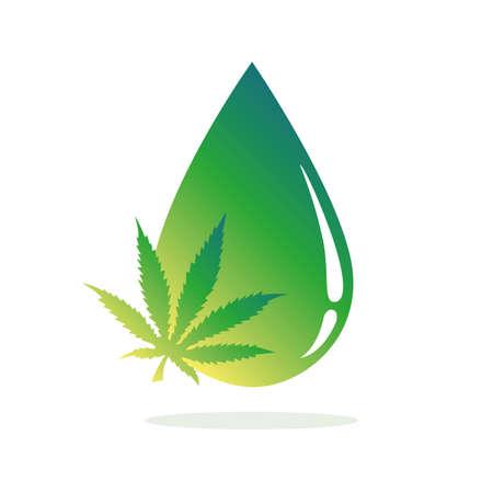medicine cannabis oil green drop vector illustration EPS10