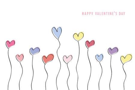 happy valentines day drawing colorful hearts vector illustration EPS10