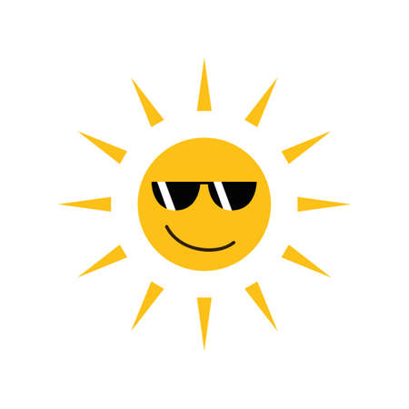 happy funny sun with sunglasses isolated on white vector illustration EPS10 Ilustração