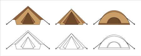 set of tents for camping holiday vector illustration EPS10 Ilustração