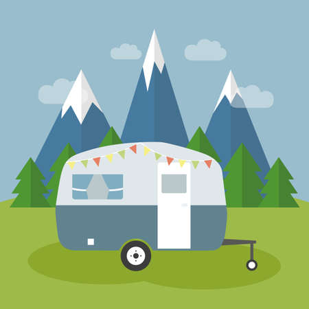 camper in the nature by snowy mountains and forest view vector illustration EPS10 Banco de Imagens - 152272757