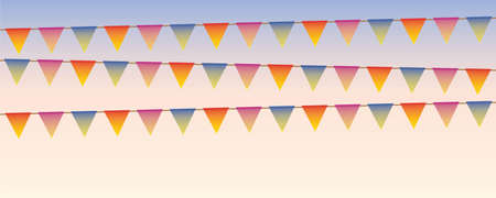 colorful party flags in the sky