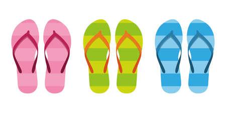 set of colorful stiped flip flops sandals vector illustration EPS10