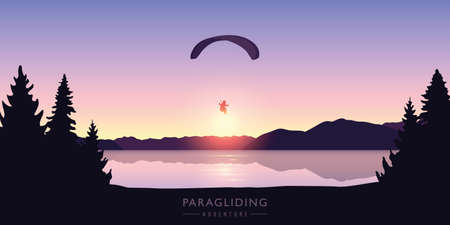paragliding adventure by the lake at beautiful sunrise vector illustration EPS10