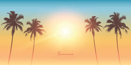 tropical summer paradise sunny background with palm tree vector illustration EPS10 Banco de Imagens - 152326386