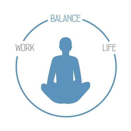 meditating person work life balance circle healthy lifestyle vector illustration