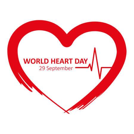 world heart day 29 september red heart beat vector illustration