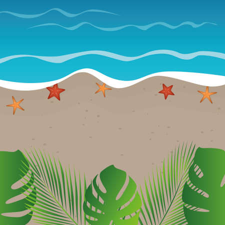 beach background summer holiday design with starfish and palm leaves vector illustration EPS10 Ilustração