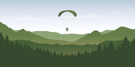paragliding adventure in wildlife nature mountain landscape vector illustration EPS10