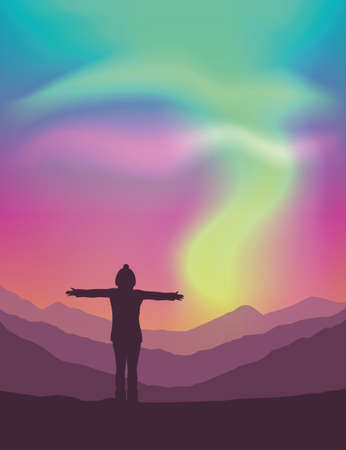 lonely girl on mountain view with beautiful polar lights in colorful sky vector illustration EPS10