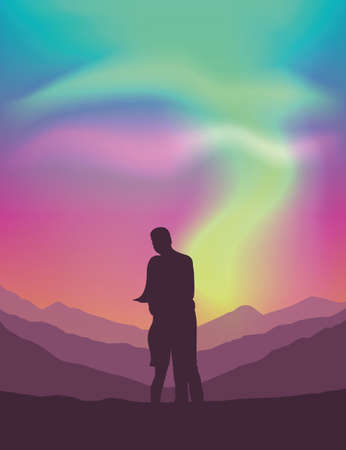 couple on mountain view with beautiful polar lights in colorful sky vector illustration EPS10
