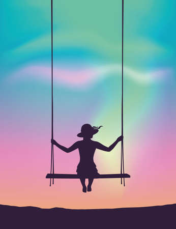 pretty girl on a swing looks to the beautiful polar lights in colorful sky