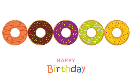 happy birthday greeting card with colorful donuts and sprinkles