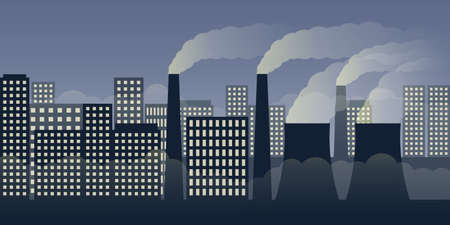 city scape by night with pollution by industry and smog vector illustration EPS10 Banco de Imagens - 152528716