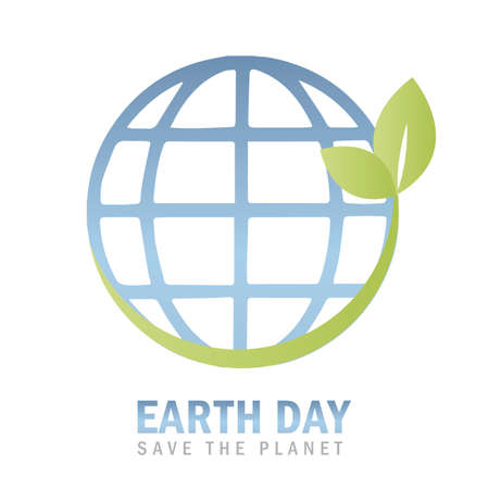 earth day environmentalism symbol with green leaves Ilustração