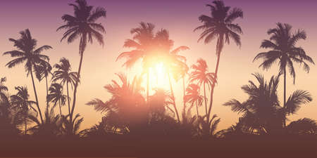 romantic palm tree silhouette background on a sunny day summer holiday design
