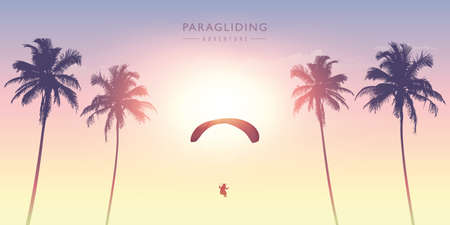 paragliding adventure between palm trees on a sunny day vector illustration EPS10 Illustration