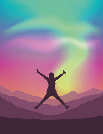 lonely girl on mountain view with beautiful polar lights in colorful sky vector illustration EPS10 Banco de Imagens - 152528757