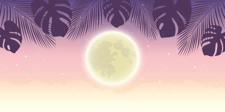 romantic night background with full moon and palm tree leaves