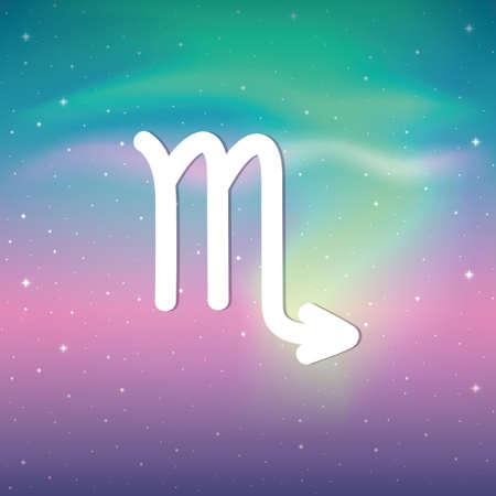 zodiac sign scorpio horoscope in colorful starry sky Illustration