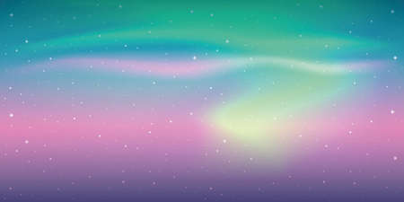 beautiful aurora borealis background colorful starry sky vector illustration Ilustração