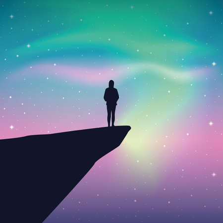 girl on a cliff looks in the colorful starry sky with aurora borealis vector illustration EPS10 Ilustração