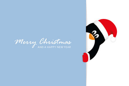 cute penguin christmas greeting card vector illustration EPS10 Stock fotó - 153293373