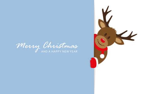 cute deer christmas greeting card vector illustration EPS10 Stock fotó - 153295533