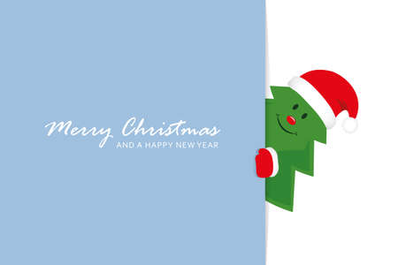 cute christmas tree greeting card vector illustration EPS10 Stock fotó - 153295448