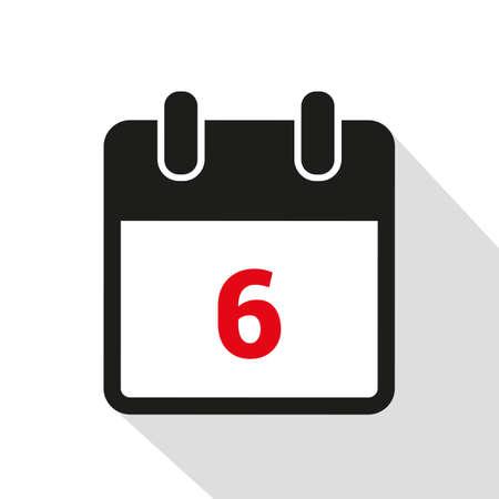 simple calendar icon 6 on white background vector illustration Stock Illustratie