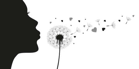 girl blows dandelion with heart silhouette vector illustration