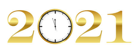 clock shortly before 2021 new year gold typography vector illustration EPS10