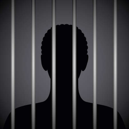 man in a prison behind jail bars silhouette vector illustration EPS10