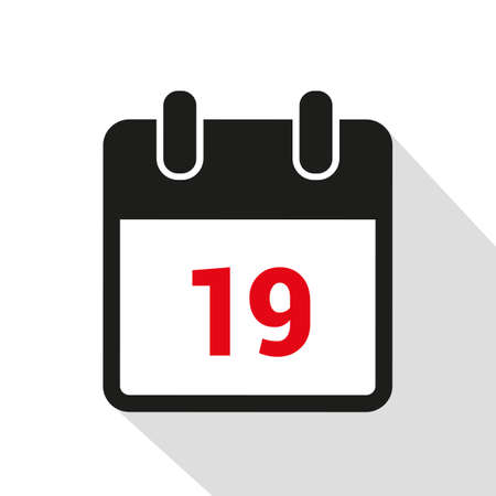 simple calendar icon 19 on white background vector illustration
