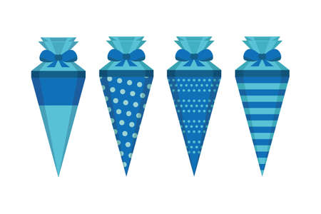 blue pattern school cone set isolated on white vector illustration EPS10 Stock Illustratie