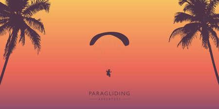 paragliding adventure between palm trees vector illustration Stock Illustratie