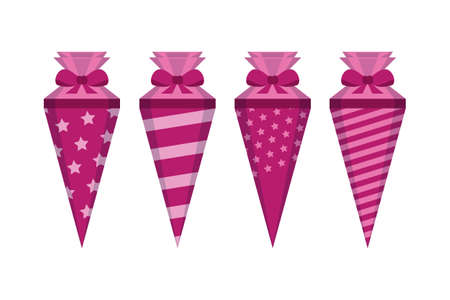 pink pattern school cone set isolated on white vector illustration EPS10