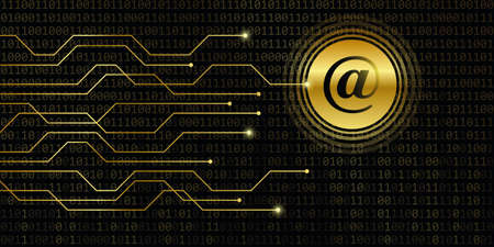 digital post mail with binary code background vector illustration Stock Illustratie