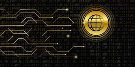 wifi digital banner with binary code background vector illustration Stock Illustratie