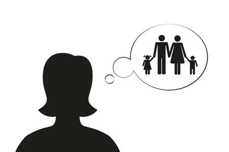 woman think about family silhouette vector