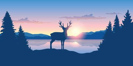 reindeer by the lake at sunrise wildlife nature landscape vector illustration EPS10 Stock Illustratie