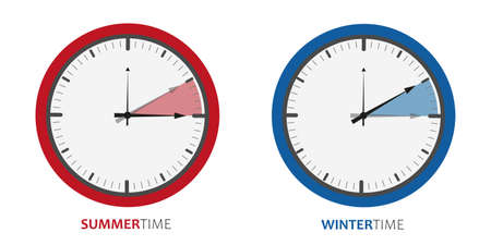 clock change summertime and wintertime vector illustration EPS10