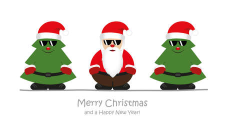 cute happy santa claus with christmas trees and sunglasses vector illustration EPS10