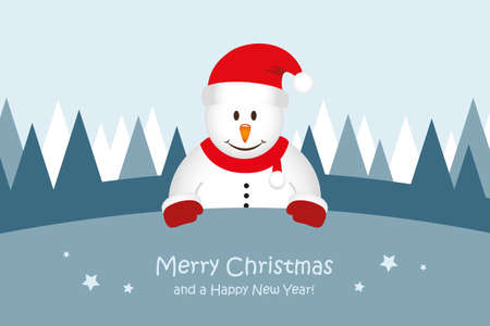 cute snowman christmas greeting card vector illustration EPS10