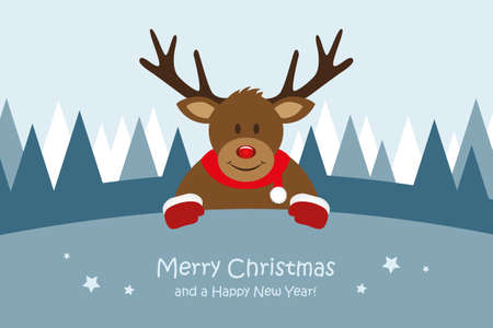 cute deer christmas greeting card vector illustration EPS10