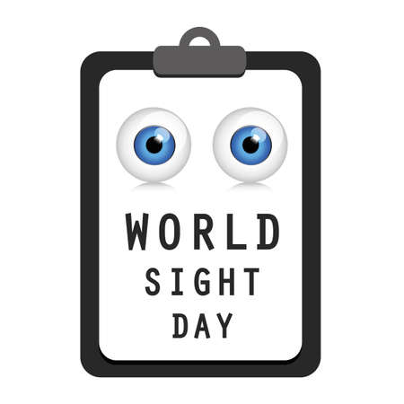 world sight day blue eye on a clipboard vector illustration EPS10